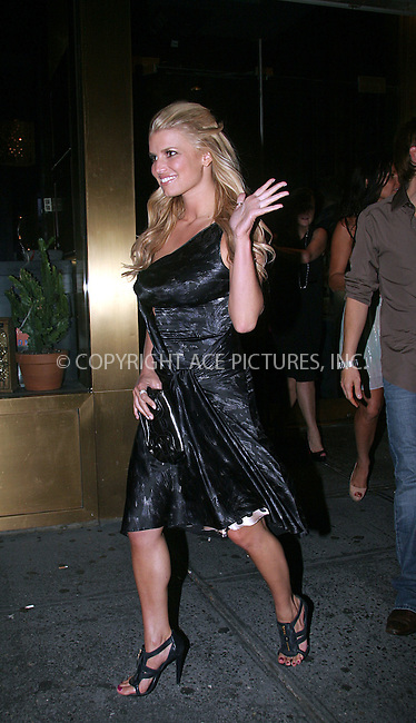 WWW.ACEPIXS.COM . . . . .  ....July 24 2008, New York City....Actress Jessica Simpson coming out of restaurant Dos Caminos on July 24 2008 in New York City....Please byline: NANCY RIVERA- ACE PICTURES.... *** ***..Ace Pictures, Inc:  ..tel: (646) 769 0430..e-mail: info@acepixs.com..web: http://www.acepixs.com