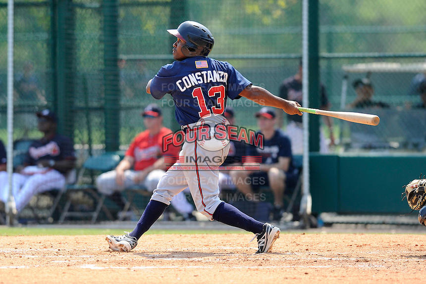 Outfielder Jose Constanza (13) of the Atlanta Braves farm system in a Minor League Spring Training intrasquad game on Wednesday, March 18, 2015, at the ESPN Wide World of Sports Complex in Lake Buena Vista, Florida. (Tom Priddy/Four Seam Images)