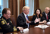 United States President Donald J. Trump makes during a roundtable meeting with leaders and public officials from California who oppose their state's sanctuary policies that in their opinion release criminal illegal aliens into public communities, in the Cabinet Room of the White House, May 16, 2018 in Washington, DC. <br /> Credit: Olivier Douliery / Pool via CNP