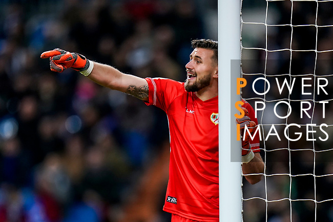 Goalkeeper Stole Dimitrievski of Rayo Vallecano reacts during the La Liga 2018-19 match between Real Madrid and Rayo Vallencano at Estadio Santiago Bernabeu on December 15 2018 in Madrid, Spain. Photo by Diego Souto / Power Sport Images