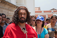 Jesus Speaking in Palm Sunday Re-enactment of events in the life of Jesus, by the group called Luna LLena (Full Moon), a group of volunteers in Antigua, Guatemala.  Jesus is played by Rodrigo Gaytan, a metal worker.