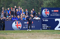 Lee Slattery (ENG) on the 2nd tee during Round 3 of the Sky Sports British Masters at Walton Heath Golf Club in Tadworth, Surrey, England on Saturday 13th Oct 2018.<br /> Picture:  Thos Caffrey | Golffile