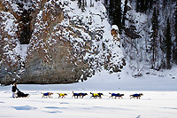 Hans Gatt on the Yukon River shortly after leaving the village checkpoint of Ruby during the 2010 Iditarod, Interior Alaska