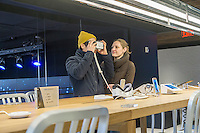 Visitors to the Samsung 837 showroom in the Meatpacking District in New York test the Samsung VR virtual reality goggles, seen on Saturday, February 27, 2016. The showroom in the trendy Meatpacking district does no sales but is a showcase for Samsung products. (© Richard B. Levine)