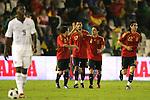 04 June 2008: Teammates congratulate Xavi (ESP) (8) for his second half goal. The Spain Men's National Team defeated the United States Men's National Team 1-0 at Estadio Municipal El Sardinero in Santander, Spain in an international friendly soccer match.