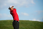 SUGAR GROVE, IL - MAY 29: John Oda of UNLV tees off during the Division I Men's Golf Individual Championship held at Rich Harvest Farms on May 29, 2017 in Sugar Grove, Illinois. Oda tied for 8th place with a -3 score. (Photo by Jamie Schwaberow/NCAA Photos via Getty Images)