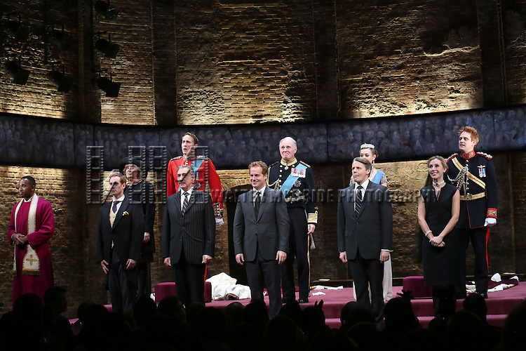 Nyasha Hatendi , Tom Robertson, Margot Leicester, Oliver Chris, Miles Richardson, Adam James, Tim Pigott-Smith, Anthony Calf, Lydia Wilson, Sally Scott and Richard Goulding during the Broadway Opening Night performance curtain call bows for 'King Charles III' at the Music Box Theatre on November 1, 2015 in New York City.