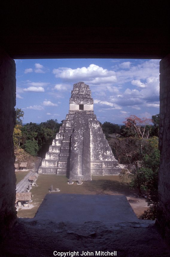 Temple I (Temple of the Grand Jaguar) from the top of Temple II at the Mayan ruins of Tikal in Tikal National Park, El Peten, Guatemala