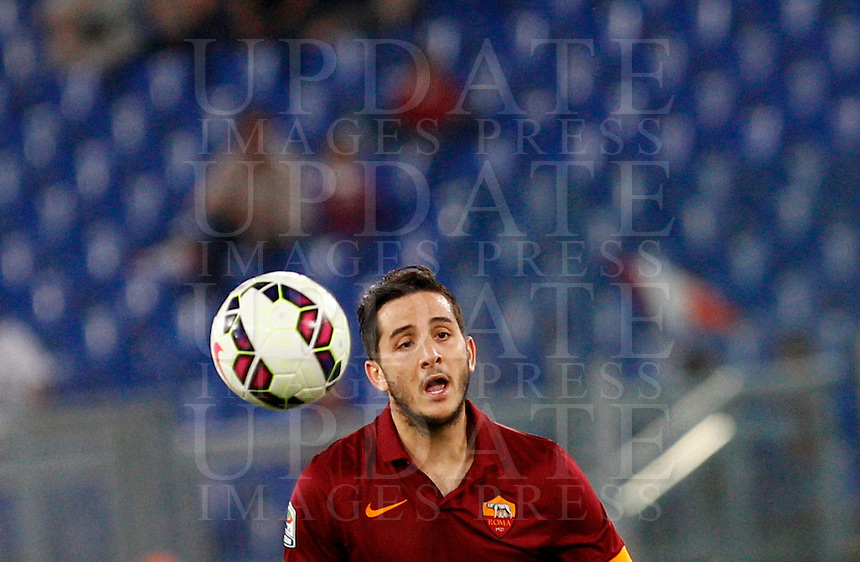 Calcio, Serie A: Roma vs Verona. Roma, stadio Olimpico, 27 settembre 2014.<br /> Roma&rsquo;s Kostas Manolas in action during the Italian Serie A football match between AS Roma and Hellas Verona at Rome's Olympic stadium, 27 September 2014.<br /> UPDATE IMAGES PRESS/Riccardo De Luca