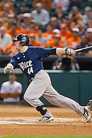 Skyler Ewing #44 of the Rice Owls follows through on his swing against the Texas Longhorns at Minute Maid Park on February 28, 2014 in Houston, Texas.  The Longhorns defeated the Owls 2-0.  (Brian Westerholt/Four Seam Images)