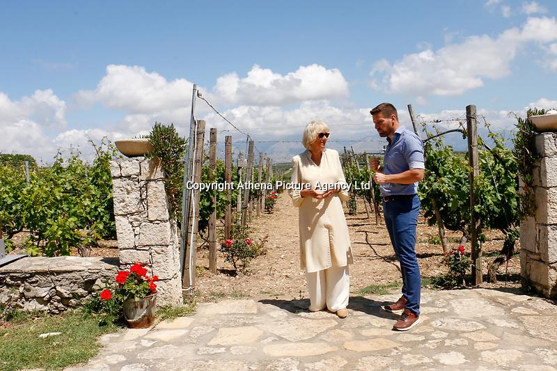Pictured: The Duchess of Cornwall is shown around Lyraraki Winemakers in ALagni, Crete, Greece. Friday 11 May 2018 <br /> Re: Duchess of Cornwall visits Lyraraki Winemakers on the island of Crete, Greece.