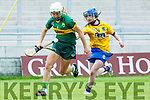 Kerry's Patrice Diggins gets away from Roscommon's Colleen Kelly in the Liberty Insurance all-Ireland Premier Junior Camogie Championship Kerry V Roscommon at Stacks Park on Saturday