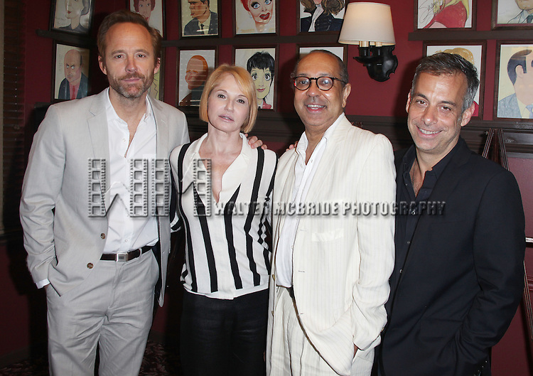 Sardi's unveils Caricatures of 'The Normal Heart' Tony Award Nominees Ellen Barkin, John Benjamin Hickey & Joe Mantello with Director George C. Wolfe at Sardi's in New York City.