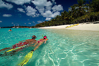 Snorkelers at Honeymoon Beach<br /> Virgin Islands National Park<br /> St. John, U.S. Virgin Islands