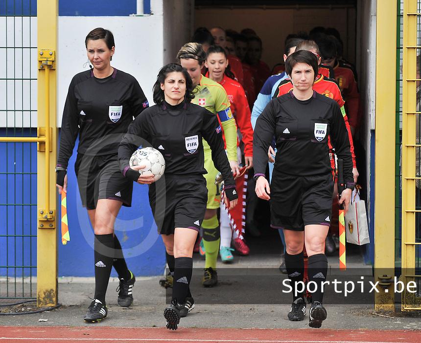 Belgium U19 - Switzerland U19 : Michelle O'Neill (IRL) ,. Riem Hussein (GER)   , Christina Jaworek (GER).foto DAVID CATRY / Nikonpro.be
