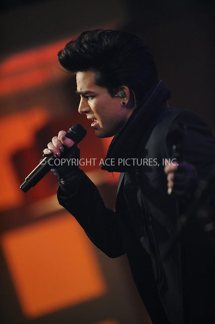 WWW.ACEPIXS.COM . . . . . ....November 25 2009, New York City....Singer Adam Lambert performed on the 'Early Show' at the CBS Studios on November 25, 2009 in New York City.....Please byline: KRISTIN CALLAHAN - ACEPIXS.COM.. . . . . . ..Ace Pictures, Inc:  ..(212) 243-8787 or (646) 679 0430..e-mail: picturedesk@acepixs.com..web: http://www.acepixs.com