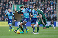 Adebayo Akinfenwa of Wycombe Wanderers under pressure during the Sky Bet League 2 match between Plymouth Argyle and Wycombe Wanderers at Home Park, Plymouth, England on 26 December 2016. Photo by Mark  Hawkins / PRiME Media Images.