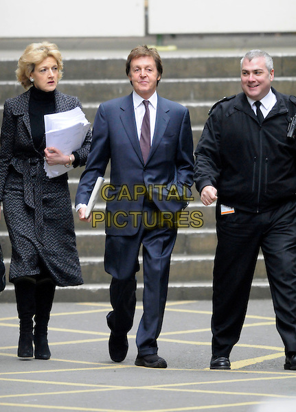 FIONA SHACKLETON & PAUL McCARTNEY.Arriving at The High Court, London, England..February 14th, 2008.full length grey gray coat blue suit lawyer .CAP/DH.©David Hitchens/Capital Pictures.