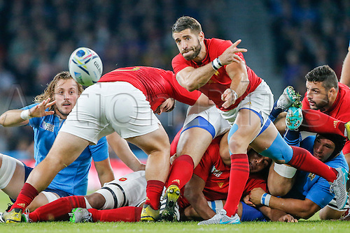 19.09.2015. Twickenham, London, England. Rugby World Cup. France versus Italy. Sebastien Tillous-Borde of France spins a pass along his line.