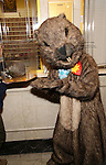 """Staten Island Chuck and Mr. Groundhog visit the """"Groundhog Day'' opening day box office at The August Wilson Theatre on February 2, 2017 in New York City."""
