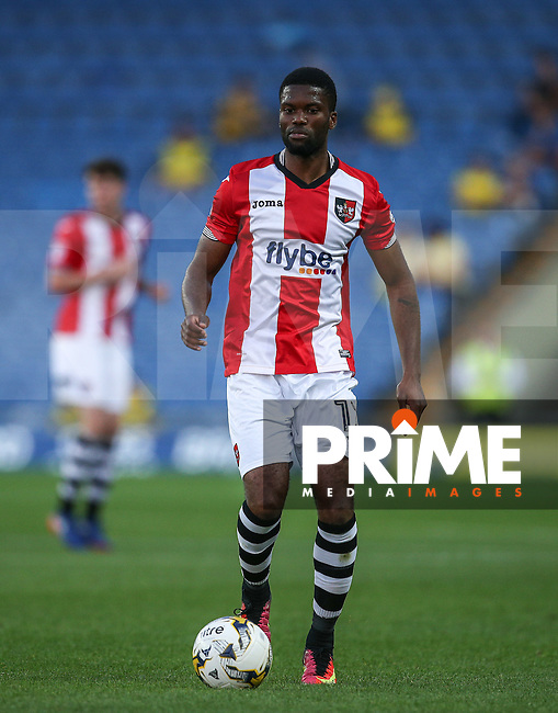 Joel Grant of Exeter City on the ball during the The Checkatrade Trophy match between Oxford United and Exeter City at the Kassam Stadium, Oxford, England on 30 August 2016. Photo by Andy Rowland / PRiME Media Images.