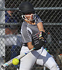 Lizzy Belfiore #19, Clarke pitcher, plates a run with a single in the bottom of the third inning of a Nassau County Conference ABC-II varsity softball game against Division Avenue at Clarke High School on Thursday, April 26, 2018. Clarke won by a score of 4-2.
