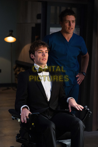 Me Before You (2016)<br /> Sam Claflin &amp; Steve Peacocke<br /> *Filmstill - Editorial Use Only*<br /> CAP/KFS<br /> Image supplied by Capital Pictures