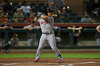 Peoria Javelinas third baseman Michael Chavis (11), of the Boston Red Sox organization, at bat during an Arizona Fall League game against the Scottsdale Scorpions on October 20, 2017 at Scottsdale Stadium in Scottsdale, Arizona. the Javelinas defeated the Scorpions 2-0. (Zachary Lucy/Four Seam Images)