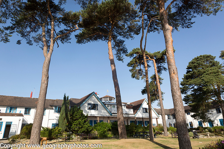 Buildings and garden of Knoll House Hotel, Studland, Swanage, Dorset, England, UK 1930s architecture