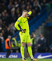 Goalkeeper Jordan Pickford of Everton covers his face after the Chelsea 2nd goal during the Carabao Cup round of 16 match between Chelsea and Everton at Stamford Bridge, London, England on 25 October 2017. Photo by Andy Rowland.