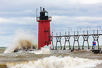 64795-02217 South Haven Lighthouse with high waves crashing South Haven,  MI