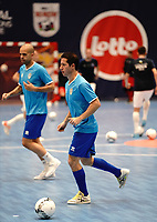 20191010 - HALLE: Halle-Gooik's Leo is piictured during the warm up before the UEFA Futsal Champions League Main Round match between FP Halle-Gooik (BEL) and Kherson (UKR) on1 0th October 2019 at De Bres Sportcomplex, Halle, Belgium. PHOTO SPORTPIX | SEVIL OKTEM