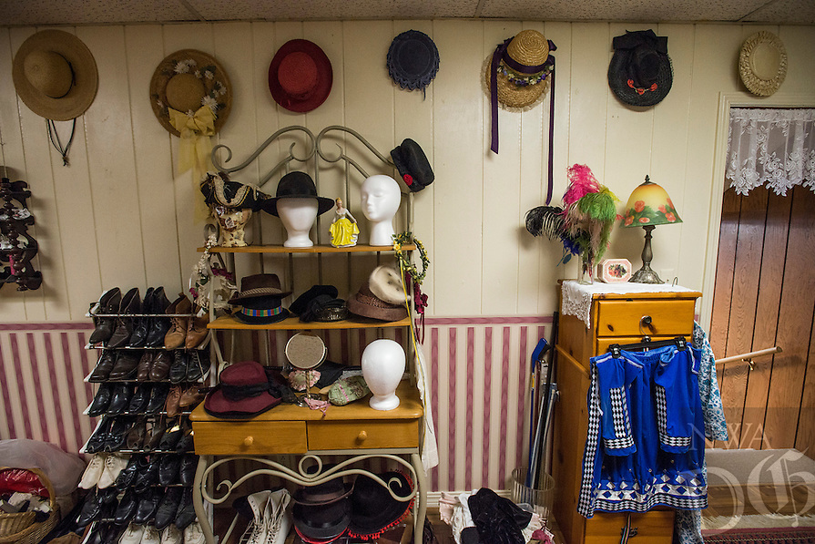 NWA Democrat-Gazette/ANTHONY REYES &bull; @NWATONYR<br /> The costume shop Monday, March 21, 2016 inside the Elm Springs Historical Society's 100-year-old building. Exhibits include colonial period, ozark life, costumes and civil war pieces. Across the street from the building is land that will become a park where they have evidence thousands of civil war troops once camped.