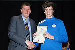 St Johnstone FC Youth Academy Presentation Night at Perth Concert Hall..21.04.14<br /> Manager Tommy Wright presents to Innes Murray<br /> Picture by Graeme Hart.<br /> Copyright Perthshire Picture Agency<br /> Tel: 01738 623350  Mobile: 07990 594431