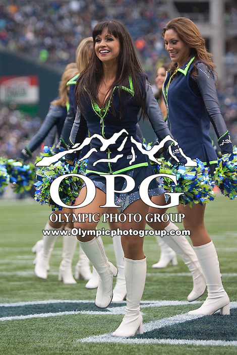Seattle Seahawk Sea Gals entertained the fans through out the game against the Baltimore Ravens at Century Link field in Seattle, WA.