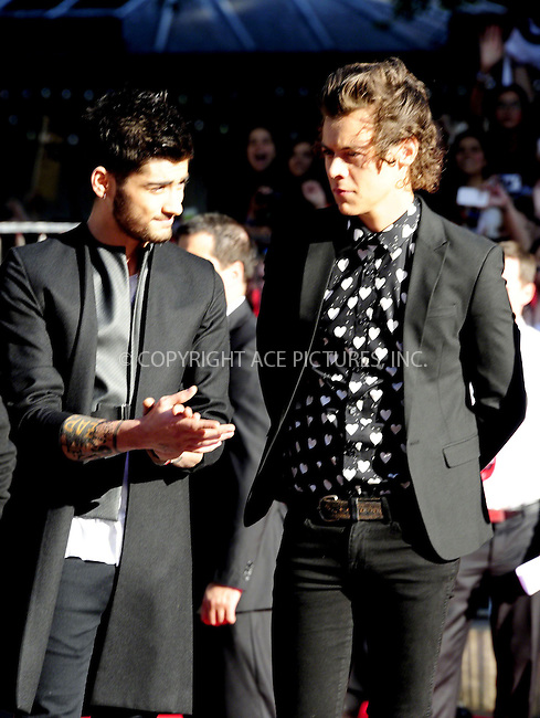 WWW.ACEPIXS.COM<br /> <br /> US Sales Only<br /> <br /> August 20 2013, London<br /> <br /> Zayn Malik and Harry Styles of One Direction at the World Premiere of 'One Direction: This Is Us' at the Empire Leicester Square on August 20 2013 in London<br /> <br /> By Line: Famous/ACE Pictures<br /> <br /> <br /> ACE Pictures, Inc.<br /> tel: 646 769 0430<br /> Email: info@acepixs.com<br /> www.acepixs.com