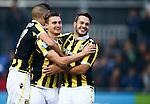 Nederland, Zwolle, 18 oktober 2015<br /> Eredivisie<br /> Seizoen 2015-2016<br /> PEC Zwolle-Vitesse<br /> Denys Oliinyk van Vitesse juicht nadat hij uit een strafschop heeft gescoord, 1-4. Rechts Valeri Qazaishvili van Vitesse