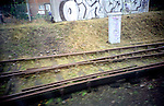 train tracks and graffitis. London