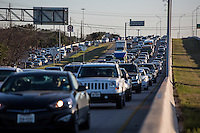 Traffic jam on US Highway 183 Research, Austin's central freeway and main artery for urban sprawl to Cedar Park and Leander suburbs.