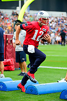 July 27, 2017: New England Patriots quarterback Tom Brady (12) does a footwork drill at the New England Patriots training camp held on the at Gillette Stadium, in Foxborough, Massachusetts. Eric Canha/CSM