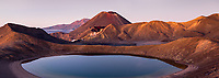 Pastel dawn over Blue Lake and Mount Ngaruhoe, Tongariro Nationasl Park, Central Plateau, North Island, UNESCO World Heritage Area, New Zealand, NZ