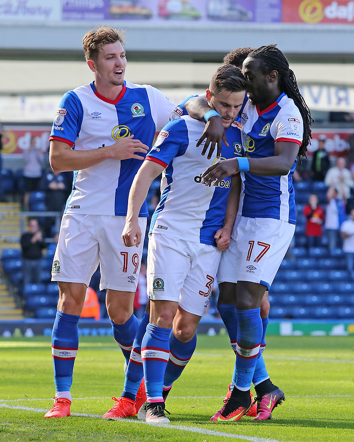 Blackburn Rovers' Craig Conway is mobbed after scoring his sides first goal<br /> <br /> Photographer David Shipman/CameraSport<br /> <br /> The EFL Sky Bet Championship - Blackburn Rovers v Rotherham United - Saturday 17 September 2016 - Ewood Park - Blackburn<br /> <br /> World Copyright &copy; 2016 CameraSport. All rights reserved. 43 Linden Ave. Countesthorpe. Leicester. England. LE8 5PG - Tel: +44 (0) 116 277 4147 - admin@camerasport.com - www.camerasport.com