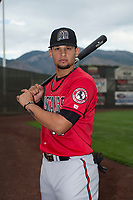 Billings Mustangs infielder Juan Martinez (18) poses for a photo prior to a Pioneer League game against the Ogden Raptors at Lindquist Field on August 17, 2018 in Ogden, Utah. The Billings Mustangs defeated the Ogden Raptors by a score of 6-3. (Zachary Lucy/Four Seam Images)