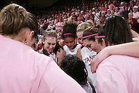 16 February 2008: Stanford Cardinal (not in order) Hannah Donaghe, Cissy Pierce, JJ Hones, Morgan Clyburn, Jillian Harmon, Candice Wiggins, and Michelle Harrison during Stanford's 79-57 win against the Arizona State Sun Devils at Maples Pavilion in Stanford, CA.