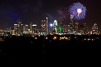 Fireworks shooting over Downtown New Skyline Austin, Texas Cityscape