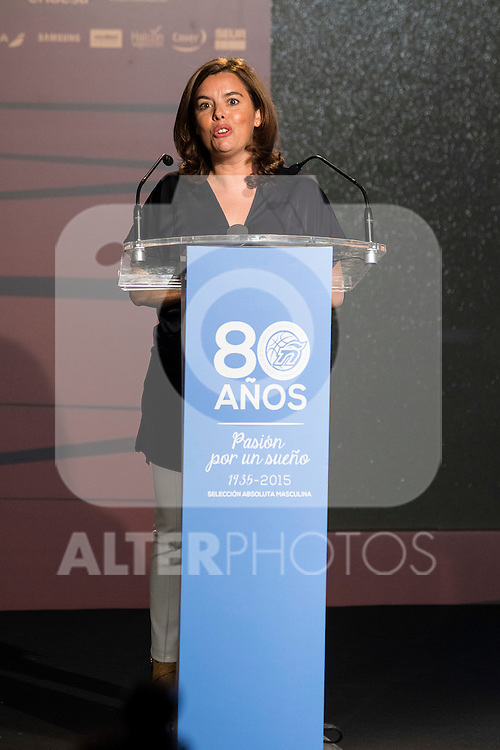 Vice President Soraya Saenz de Santamaria during the 80th Aniversary of the National Basketball Team at Melia Castilla Hotel, Spain, September 01, 2015. <br /> (ALTERPHOTOS/BorjaB.Hojas)