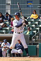 Casey Stevenson of the University of California at Irvine hitting during a game against James Madison University at the Baseball at the Beach Tournament held at BB&T Coastal Field in Myrtle Beach, SC on February 28, 2010.