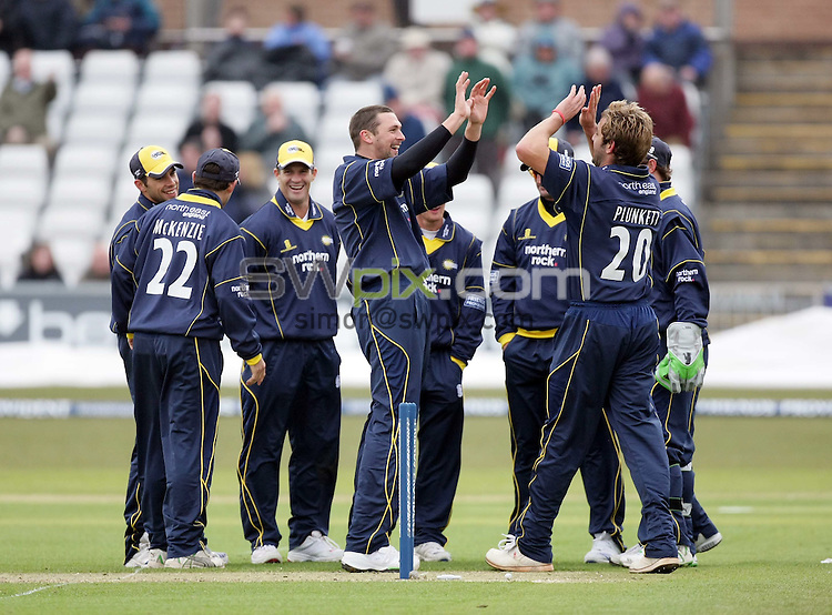 PICTURE BY VAUGHN RIDLEY/SWPIX.COM - Cricket - Friends Provident Trophy - Durham v Yorkshire - The Riverside, Durham, England - 20/04/08...Copyright - Simon Wilkinson - 07811267706..Durham's Stephen Harmison (C) celebrates with teammates after bowling Yorkshire's Gerard Brophy with his first ball.