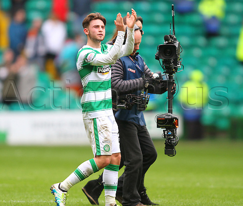 02.04.2016. Celtic Park, Glasgow, Scotland. Scottish Football Premiership Celtic versus Hearts. Patrick Roberts, on loan from Manchester City, applauds the fans after his goals win the match