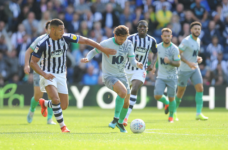 Blackburn Rovers' Bradley Dack under pressure from West Bromwich Albion's Jake Livermore<br /> <br /> Photographer Kevin Barnes/CameraSport<br /> <br /> The EFL Sky Bet Championship - West Bromwich Albion v Blackburn Rovers - Saturday 31st August 2019 - The Hawthorns - West Bromwich<br /> <br /> World Copyright © 2019 CameraSport. All rights reserved. 43 Linden Ave. Countesthorpe. Leicester. England. LE8 5PG - Tel: +44 (0) 116 277 4147 - admin@camerasport.com - www.camerasport.com